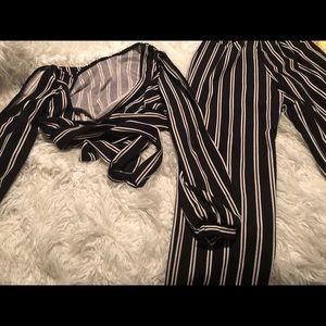 Black and white pant set